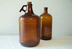 Vintage 1950s Purex Glass Bottle and Rare Bleach Glass Gallon Jug - Amber Brown