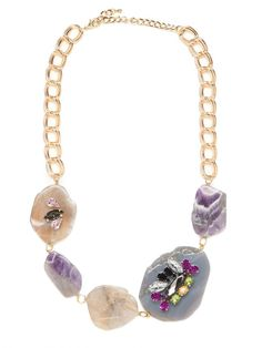 Bauble Bar Lilac Agate Necklace...  rough gems + embellishment make this piece a one of a kind statement.