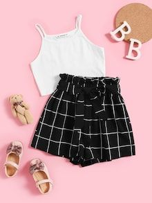 SHEIN Kiddie White Solid Cami Top And Paperbag Waist Set Plaid Shorts Girls Sets 2019 Summer Frill Wide Leg Belted Casual Outfit – nooncart Teen Girl Outfits, Girls Fashion Clothes, Teen Fashion Outfits, Outfits For Teens, Teenage Outfits, Girl Fashion, Preteen Fashion, Teen Girl Clothes, Tween Girls Clothing