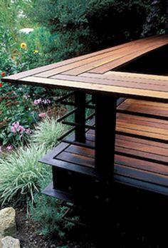 Cool Backyard Deck Design Idea 37 Although ancient around principle, the pergola may be experiencing Wood Deck Designs, Deck Railing Design, Deck Railings, Patio Design, Railing Ideas, Pergola Ideas, Pergola Kits, Deck Balustrade Ideas, Small Deck Designs