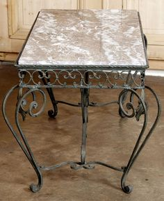 Vintage Marble & Wrought Iron Coffee Table | Antique Coffee Tables | Inessa Stewart's Antiques