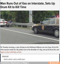 Traffic jam!. lol this guy.