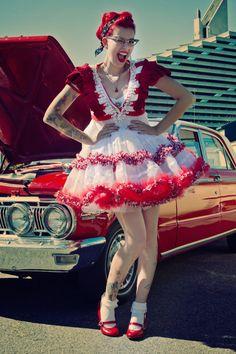 Rockabilly Fashion Prom Dress with Christmas by glaciermilk, $575.00