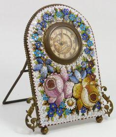 Italian Micro Mosaic Floral Shelf Clock