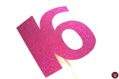 Photo Booth Props - GLITTERY Hot Pink 16 on a stick  - 16th Birthday - GLITTER Photobooth Prop. $12.00, via Etsy.