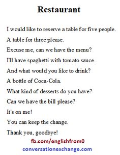 English For Beginners: At the restaurant