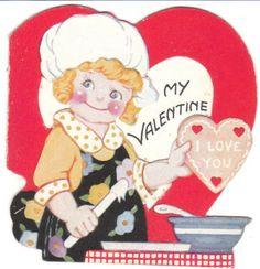 Vintage Valentine - girl bakes cookies