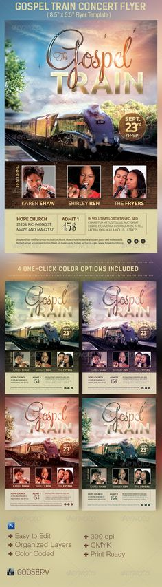 Buy Gospel Train Church Concert Flyer Template by Godserv on GraphicRiver. Gospel Train Concert Flyer Template is geared towards usage for church events – Talent Searches, General Fundraisers,. Flyer Design Templates, Print Templates, Psd Templates, Flyer Template, Gospel Concert, Ticket Design, Concert Flyer, Festival Flyer, Church Events