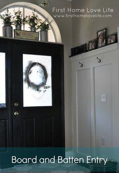 Entryway board and batten/black doors