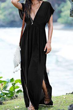 Black Side Slit Plunging Neck Maxi Dress
