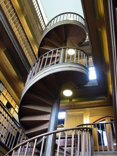 One of the coolest spiral staircases I've ever seen, in the office of the College's librarian.