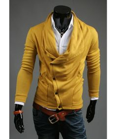 I found 'Yellow New Autumn Fashion Men Korean Style Slim-Fitting Classic Solid Color Men Cardigans Wiht Wool Blends M/L/XL/XXL 1414-WY30-50y' on Wish, check it out!