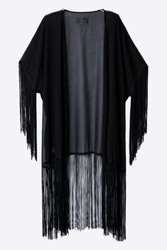 Black Shawl Fringed Style Kimono. Free 3-7 days expedited shipping to U.S. Free first class word wide shipping. Customer service: help@moooh.net