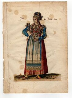 GREECE COLORED COSTUME CHIOS COPPER ENGRAVING CHALCONDILE 1662 (READ CONDITION)