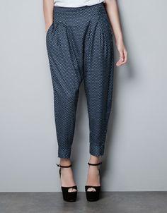 trousers w/ tie print ++ zara
