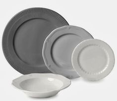 Grey crockery via A Schematic Life blog. I particularly like the Ikea Arv plate and bowl with scalloped edge