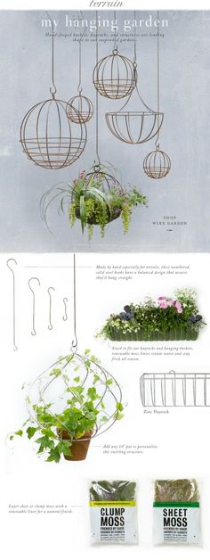 Hand-forged baskets, hayracks, and structures are lending shape to our suspended gardens at Terrain. by patricé
