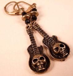 Skull Earrings Guitar Earrings Skull Jewelry by bluerosebeadery, $10.00