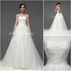 Sweetheart Chapel Beaded Wedding Dress Bridal Gowns