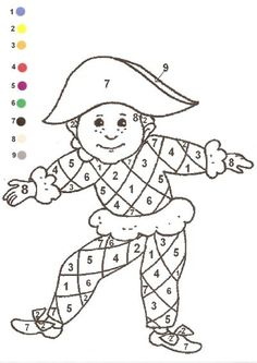 Gabarit - Coloriage magique arlequin