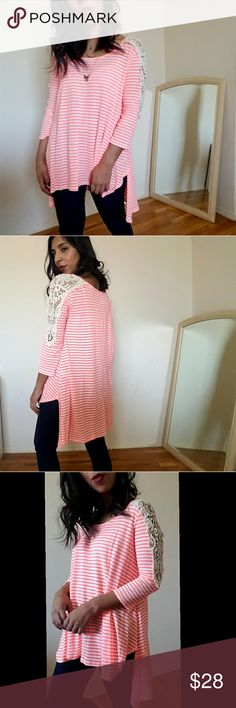 new| NEON CORAL CROCHET SHOULDER TUNIC TOP Super chic and a spring must have wardrobe essential.  Long tunic top with 3/4 sleeves. Crochet on shoulders.  Small slit sides. Longer in back. Fits TTS. Last 2 pictures shows accurate color. Bright coral.  ☞Sizes available: S M l ☞MODELING SIZE MEDIUM   I.G: JMAYORGA91  ❌PRICE FIRM❌ Tops