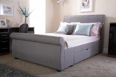 Alban Grey Storage Sleigh Bed Frame