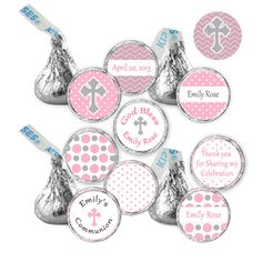 CANDY STICKERS  Printable Personalized Christening by pinkthecat, $9.00