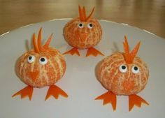 very easy to do with a clementine. Just pop off the peel and cut out the feet, hair, and beak with kitchen scissors. Can use edible eyes or marshmallow pieces with raisins.