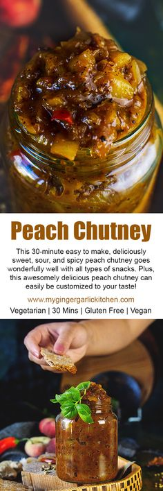 This 30-minute #easy to make, deliciously sweet, sour, and spicy peach chutney goes wonderfully well with all types of snacks. Plus, this awesomely delicious peach #chutney can easily be customized to your taste! Pair this peach chutney to perk up the flavors of any food. Serve alongside chips, curries, dals, sandwiches, rice, couscous, or other grains — whatever you choose it would always taste divine. #desi #peach #sidedish #indianfood #cooking #videorecipe #glutenfree #vegetarian #vegan