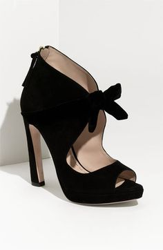 Miu Miu Knot Front Suede Pump (@Alice Robertson - these are a cute open-toe option for the sky-high heels and skinny jeans look you posted earlier)