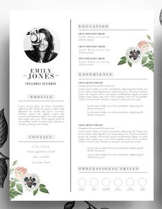 Liked on Pinterest: Adorable editable floral 2-page resume template in .psd format and MS Word format