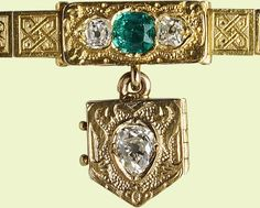 'From Albert / Decr 24 1839.' This bracelet was sent to Queen Victoria by Prince Albert not long after the announcement of their engagement and is appropriately decorated with motifs representing love... Diamonds were considered to represent eternity and emeralds hope. The Queen recorded the arrival of the bracelet thus: 'Received to my inexpressible delight a dear, charming letter from dearest Albert, accompanied by a lovely little bracelet'