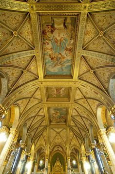 Hungary - Budapest - Parliament - The Main Staircase Ceiling    Flickr