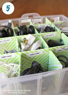 What a great idea - The Homes I Have Made: Organize Your Cords (using an ornament box!) I did…