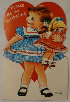 Vtg Valentine's Day Card 50's Norcross Girl Pinafore Dress Mary Jane Shoes Doll | eBay