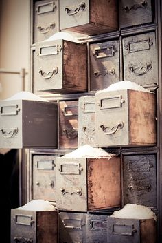 I have some of these old file drawers~~Have to find a spot for something like this~~via I Love Anthropologie/Flicker