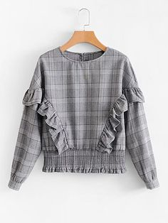 SheIn offers Ruffle Detail Shirred Waist Plaid Blouse & more to fit your fashionable needs. Girls Fashion Clothes, Modest Fashion, Fashion Dresses, Stylish Dresses For Girls, Stylish Dress Designs, Cute Blouses, Blouses For Women, Crop Top Outfits, Casual Outfits