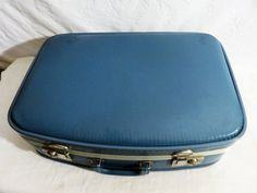 Blue Suitcase, Carry Case, 20th Century Suitcase, Travel Case, Blue Luggage by GinnysGirlsTreasures on Etsy