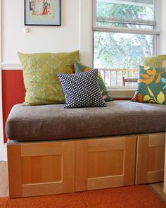 Bench seat made from IKEA kitchen cabinets.