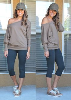 yoga pants oversize off the shoulder sweatshirt, cute tennis shoes cap - good comfy day outfit