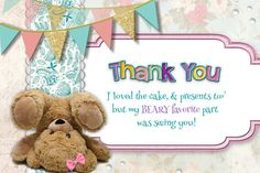 Bear Thank You Birthday Card Beary Thank You by DesignTrunkInc