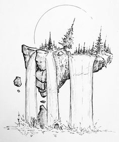 Black and white illustrations tatoos в 2019 г. Black And White Drawing, Black And White Illustration, Black White, Ink Illustrations, Illustration Art, Drawing Sketches, Cool Drawings, Waterfall Drawing, Waterfall Tattoo