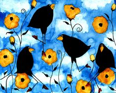 Debi Hubbs Crow Blackbird Birds Yellow Floral Flower Whimsical Folk Art Painting