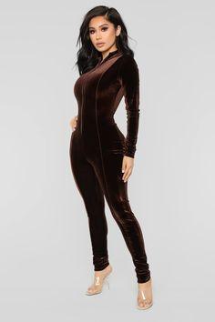 Chocolate Dream Velvet Jumpsuit - Brown. Velvet PlaysuitVelvet JumpsuitLong  JumpsuitsBrown ... 58af67571