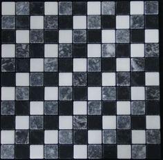 Mozaika marmurowa -  Kolekcja: Tetra 25 Coctail; Kod: TC2510; Wykończenie: ANTICO; Materiał: Thassos Snow White, Levadia Black, Macedonian Black; Wym. Kostki: 2,5x2,5 cm; Wym. Plastra:  29,0x29,0 cm