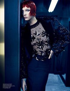 Into the Mirror features a reflected Karlie Kloss with beaded black and inky blue looks by Marc Jacobs for Louis Vuitton. Emma Summerton shoots the fashion story for W Korea