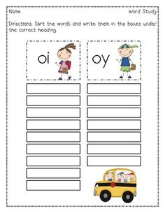This Words Their Way inspired sort focuses on diphthongs oi & oy.