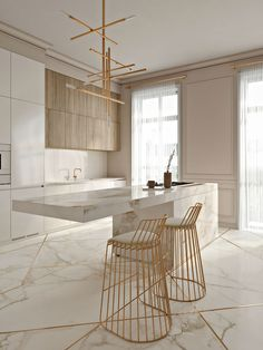Cozinha elegante incrível com toques de ouro - KÜCHE - Modern Kitchen Design, Interior Design Kitchen, Modern Interior Design, Interior Decorating, Modern Bar, Marble Interior, Decorating Ideas, Gold Interior, Decorating Websites