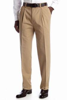 Savane Fawn Straight-Fit Dress Khaki Pleat Wrinkle Resistant Pants