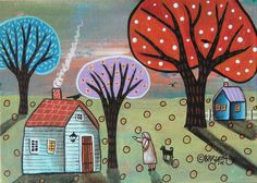 Blue Cabin ORIGINAL Canvas Panel PAINTING FOLK ART 5 x 7 Lady Birds Cat Karla G #FolkArtAbstractPrimitive